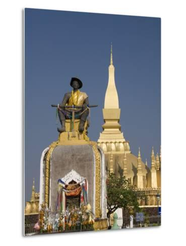 Statue of King Setthathirat with Pha That Luang in the Background, Vientiane, Laos, Indochina, Sout-Richard Maschmeyer-Metal Print