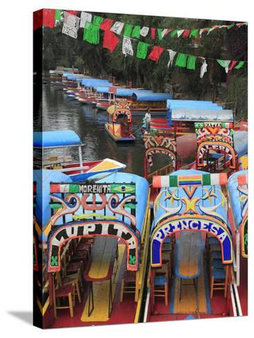 Brightly Painted Boats, Xochimilco, Trajinera, Floating Gardens, Canals, UNESCO World Heritage Site-Wendy Connett-Stretched Canvas Print