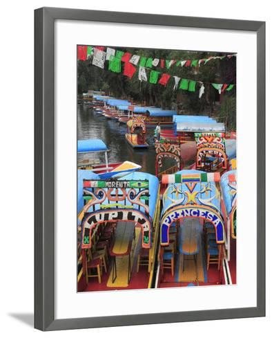 Brightly Painted Boats, Xochimilco, Trajinera, Floating Gardens, Canals, UNESCO World Heritage Site-Wendy Connett-Framed Art Print