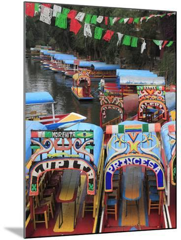 Brightly Painted Boats, Xochimilco, Trajinera, Floating Gardens, Canals, UNESCO World Heritage Site-Wendy Connett-Mounted Photographic Print