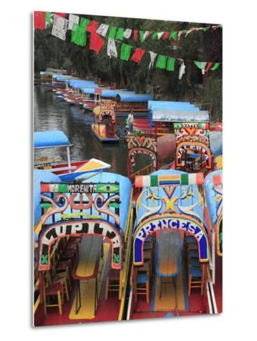 Brightly Painted Boats, Xochimilco, Trajinera, Floating Gardens, Canals, UNESCO World Heritage Site-Wendy Connett-Metal Print