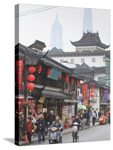 Pedestrians and Traffic on Shanghai Old Street, Remnant of a Bygone Age, Fuxing, Shanghai, China, A-Amanda Hall-Stretched Canvas Print
