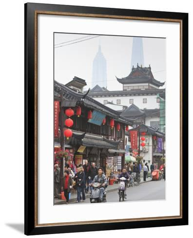 Pedestrians and Traffic on Shanghai Old Street, Remnant of a Bygone Age, Fuxing, Shanghai, China, A-Amanda Hall-Framed Art Print