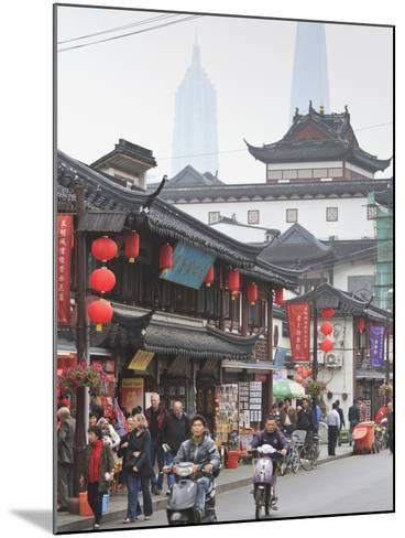 Pedestrians and Traffic on Shanghai Old Street, Remnant of a Bygone Age, Fuxing, Shanghai, China, A-Amanda Hall-Mounted Photographic Print