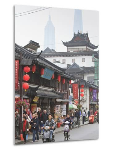 Pedestrians and Traffic on Shanghai Old Street, Remnant of a Bygone Age, Fuxing, Shanghai, China, A-Amanda Hall-Metal Print