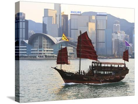 Chinese Junk Boat Sails on Victoria Harbour, Hong Kong, China, Asia-Amanda Hall-Stretched Canvas Print