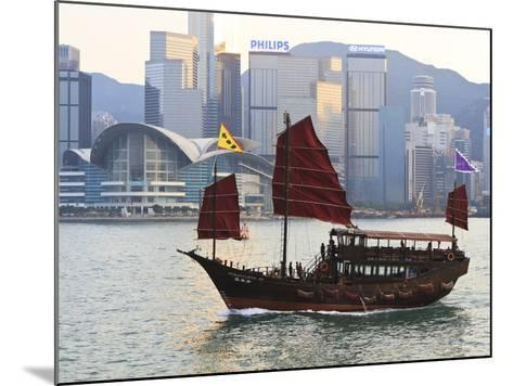 Chinese Junk Boat Sails on Victoria Harbour, Hong Kong, China, Asia-Amanda Hall-Mounted Photographic Print