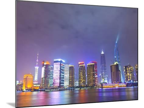 Pudong Skyline at Night across the Huangpu River, Shanghai, China, Asia-Amanda Hall-Mounted Photographic Print