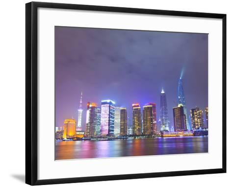 Pudong Skyline at Night across the Huangpu River, Shanghai, China, Asia-Amanda Hall-Framed Art Print