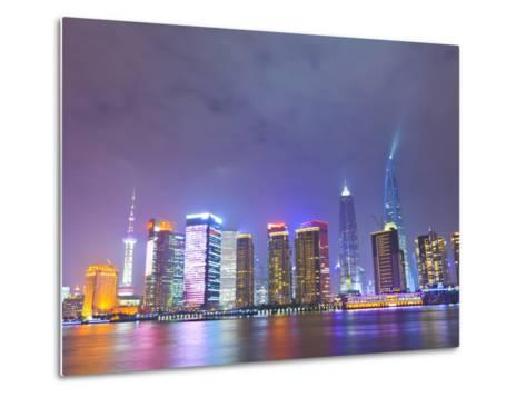 Pudong Skyline at Night across the Huangpu River, Shanghai, China, Asia-Amanda Hall-Metal Print