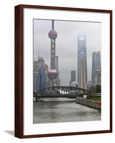 Suzhou Creek and the Waibaidu Bridge with View Towards the Pudong Skyline, Shanghai, China, Asia-Amanda Hall-Framed Art Print