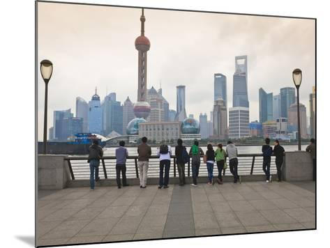People Viewing the Pudong Skyline and the Oriental Pearl Tower from the Bund, Shanghai, China, Asia-Amanda Hall-Mounted Photographic Print