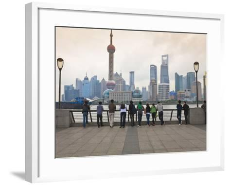 People Viewing the Pudong Skyline and the Oriental Pearl Tower from the Bund, Shanghai, China, Asia-Amanda Hall-Framed Art Print