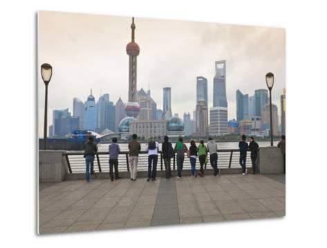 People Viewing the Pudong Skyline and the Oriental Pearl Tower from the Bund, Shanghai, China, Asia-Amanda Hall-Metal Print