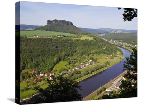 View over the River Elbe, Saxon Switzerland, Saxony, Germany, Europe-Michael Runkel-Stretched Canvas Print