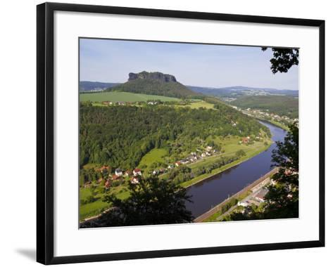 View over the River Elbe, Saxon Switzerland, Saxony, Germany, Europe-Michael Runkel-Framed Art Print