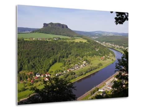 View over the River Elbe, Saxon Switzerland, Saxony, Germany, Europe-Michael Runkel-Metal Print