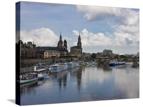 Cruise Ships on the River Elbe, Dresden, Saxony, Germany, Europe-Michael Runkel-Stretched Canvas Print