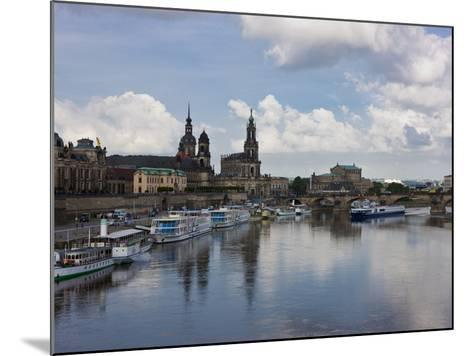 Cruise Ships on the River Elbe, Dresden, Saxony, Germany, Europe-Michael Runkel-Mounted Photographic Print