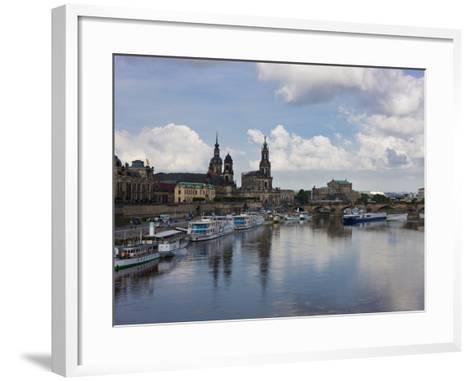 Cruise Ships on the River Elbe, Dresden, Saxony, Germany, Europe-Michael Runkel-Framed Art Print