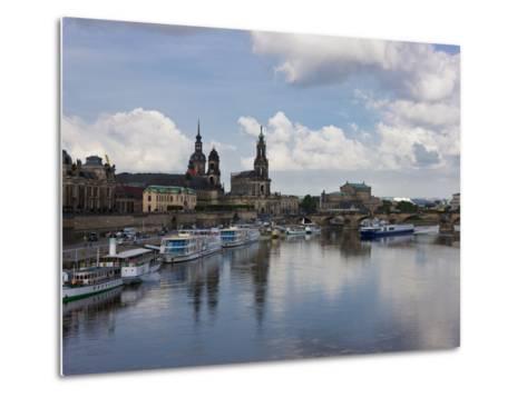 Cruise Ships on the River Elbe, Dresden, Saxony, Germany, Europe-Michael Runkel-Metal Print