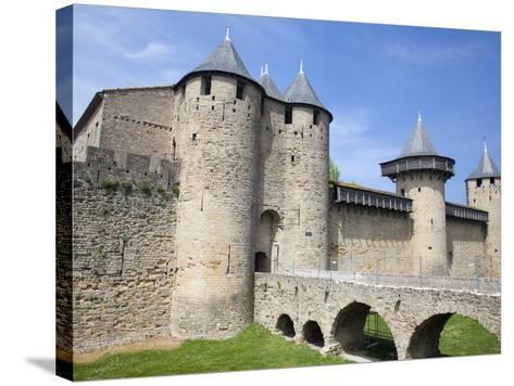 The Chateau Comtal Inside La Cite, Carcassonne, UNESCO World Heritage Site, Languedoc-Roussillon, F-David Clapp-Stretched Canvas Print