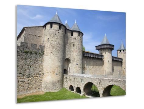 The Chateau Comtal Inside La Cite, Carcassonne, UNESCO World Heritage Site, Languedoc-Roussillon, F-David Clapp-Metal Print