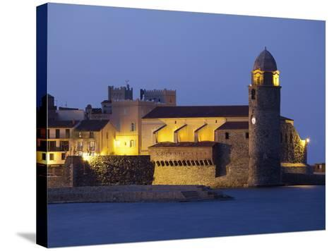 The Church of Notre-Dame-Des-Anges at Dusk from the Harbour at Collioure, Cote Vermeille, Languedoc-David Clapp-Stretched Canvas Print