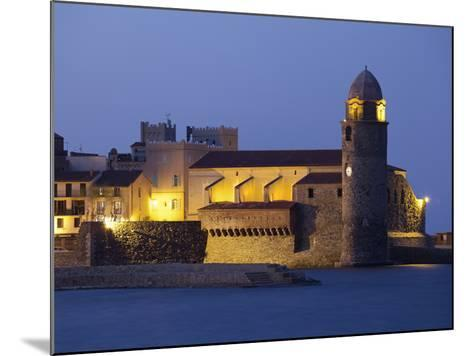 The Church of Notre-Dame-Des-Anges at Dusk from the Harbour at Collioure, Cote Vermeille, Languedoc-David Clapp-Mounted Photographic Print