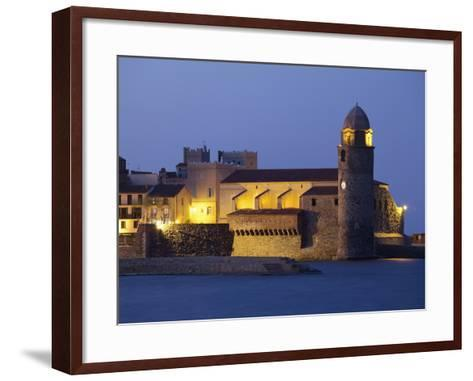 The Church of Notre-Dame-Des-Anges at Dusk from the Harbour at Collioure, Cote Vermeille, Languedoc-David Clapp-Framed Art Print
