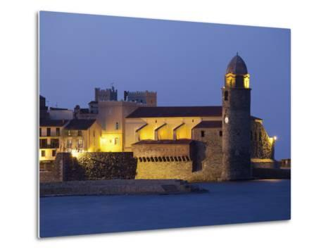 The Church of Notre-Dame-Des-Anges at Dusk from the Harbour at Collioure, Cote Vermeille, Languedoc-David Clapp-Metal Print