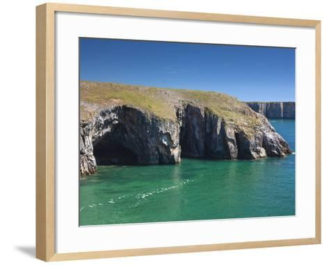 Caves at Raming Hole, Looking Towards Stackpole Head, Pembrokeshire, Wales, United Kingdom, Europe-David Clapp-Framed Art Print