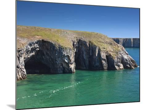 Caves at Raming Hole, Looking Towards Stackpole Head, Pembrokeshire, Wales, United Kingdom, Europe-David Clapp-Mounted Photographic Print