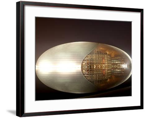 National Centre for the Performing Arts, Egg Shape Reflection, Illuminated During National Day Fest-Kimberly Walker-Framed Art Print
