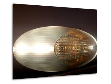National Centre for the Performing Arts, Egg Shape Reflection, Illuminated During National Day Fest-Kimberly Walker-Metal Print