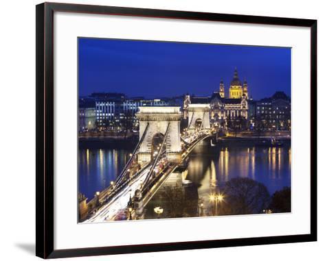 Chain Bridge and St. Stephen's Basilica at Dusk, UNESCO World Heritage Site, Budapest, Hungary, Eur-Stuart Black-Framed Art Print