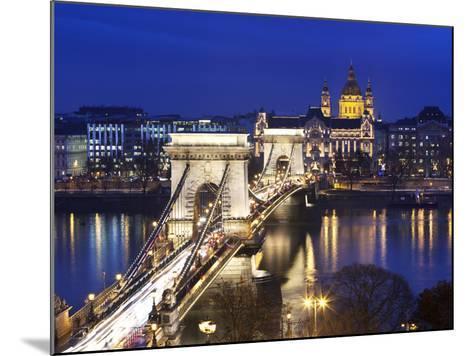Chain Bridge and St. Stephen's Basilica at Dusk, UNESCO World Heritage Site, Budapest, Hungary, Eur-Stuart Black-Mounted Photographic Print