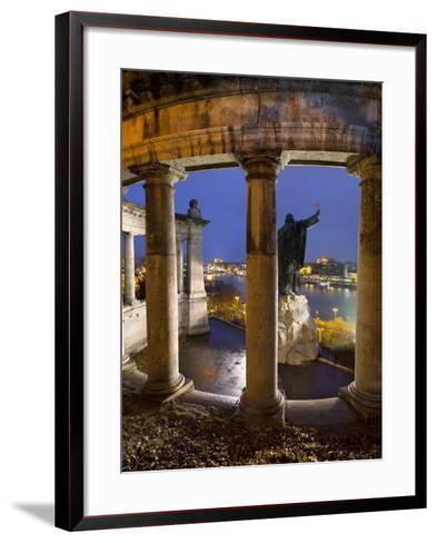 Gellert Monument with View over River Danube and City at Dusk, Gellert Hill, Budapest, Hungary, Eur-Stuart Black-Framed Art Print