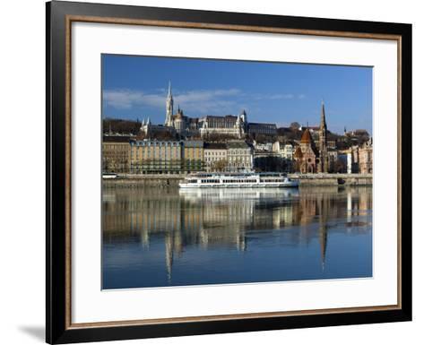 View over River Danube to Matthias Church (Matyas Templom) and Fishermen's Bastion, Budapest, Centr-Stuart Black-Framed Art Print