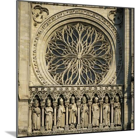 Detail of West Front, Notre Dame Cathedral, UNESCO World Heritage Site, Amiens, Picardy, France, Eu-Stuart Black-Mounted Photographic Print