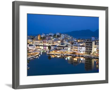 View over Harbour and Restaurants at Dusk, Ayios Nikolaos, Lasithi Region, Crete, Greek Islands, Gr-Stuart Black-Framed Art Print