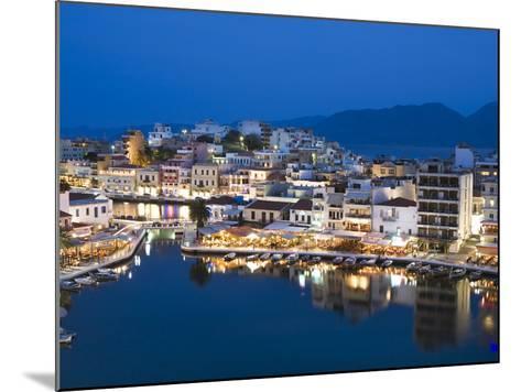 View over Harbour and Restaurants at Dusk, Ayios Nikolaos, Lasithi Region, Crete, Greek Islands, Gr-Stuart Black-Mounted Photographic Print