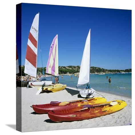 Watersports on Beach, Plage De Santa Giulia, Southeast Coast, Corsica, France, Mediterranean, Europ-Stuart Black-Stretched Canvas Print