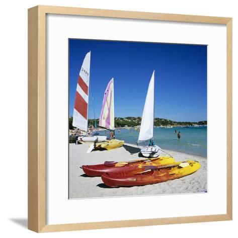 Watersports on Beach, Plage De Santa Giulia, Southeast Coast, Corsica, France, Mediterranean, Europ-Stuart Black-Framed Art Print