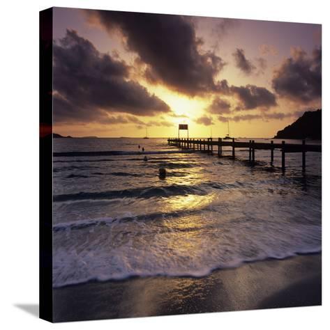 Pier at Sunrise, Plage De Santa Giulia, South East Corsica, Corsica, France, Mediterranean, Europe-Stuart Black-Stretched Canvas Print