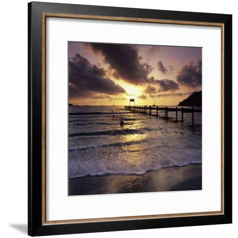 Pier at Sunrise, Plage De Santa Giulia, South East Corsica, Corsica, France, Mediterranean, Europe-Stuart Black-Framed Art Print