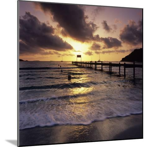 Pier at Sunrise, Plage De Santa Giulia, South East Corsica, Corsica, France, Mediterranean, Europe-Stuart Black-Mounted Photographic Print
