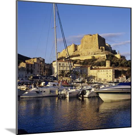 View over the Marina to Citadel and Haute Ville, Bonifacio, South Coast, Corsica, France, Mediterra-Stuart Black-Mounted Photographic Print