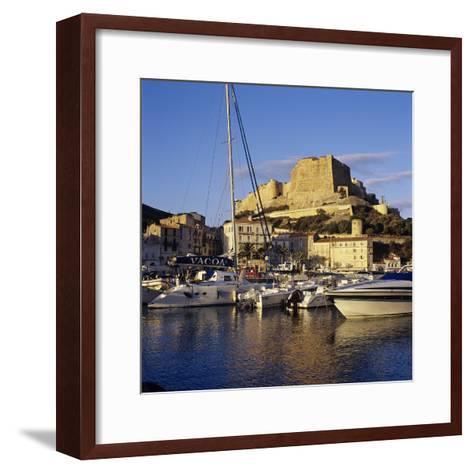 View over the Marina to Citadel and Haute Ville, Bonifacio, South Coast, Corsica, France, Mediterra-Stuart Black-Framed Art Print