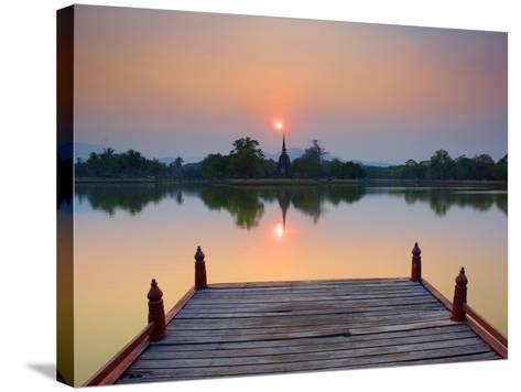 Wat Sa Si at Dusk, Sukhothai Historical Park, UNESCO World Heritage Site, Sukhothai Province, Thail-Ben Pipe-Stretched Canvas Print